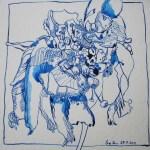 Die verwelkte blaue Blüte - Zeichnung von Susanne Haun - 20 x 20 cm - Tusche auf Bütten