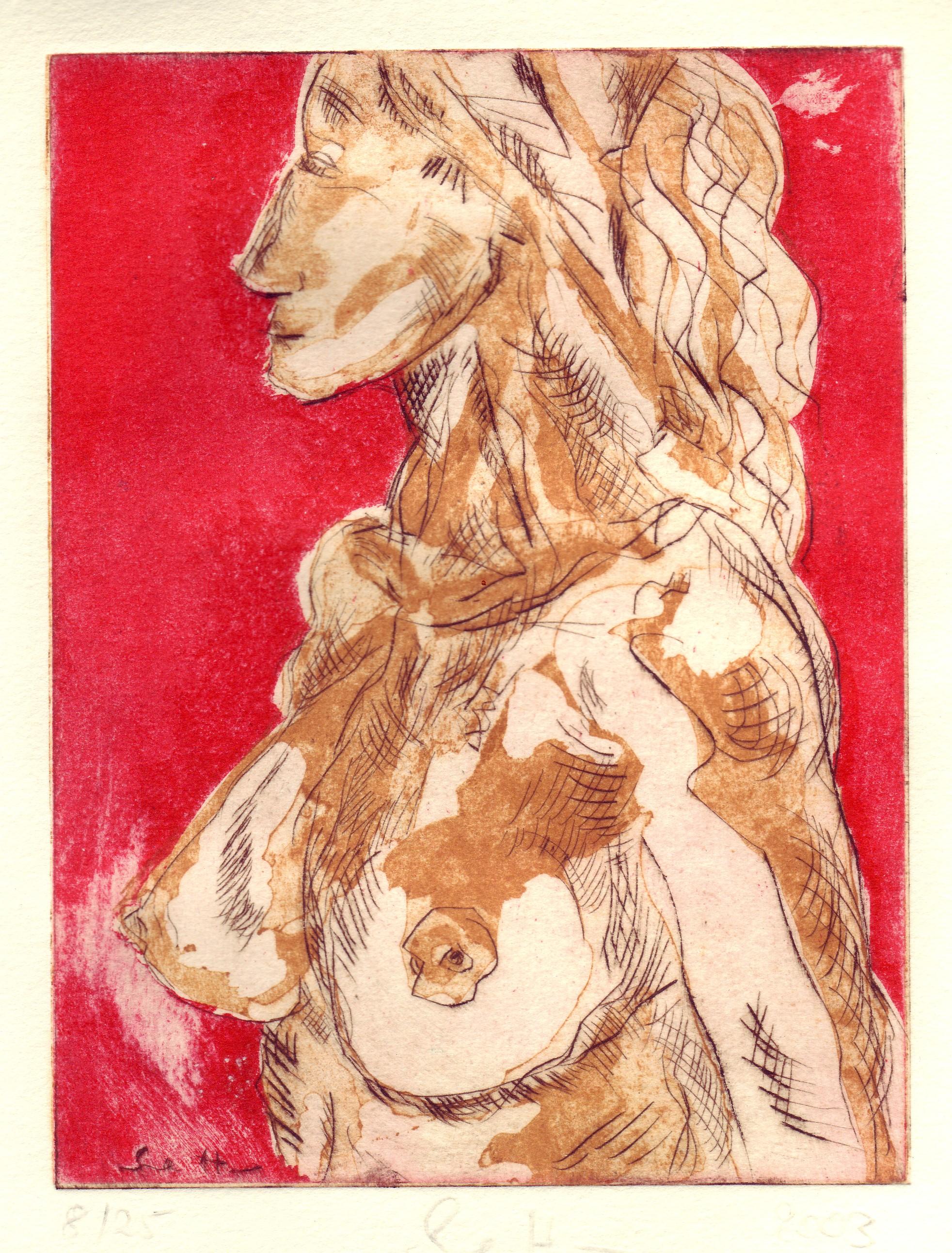 Büste - Aquatinta von Susanne Haun, 3 Platten, 20 x 15 cm