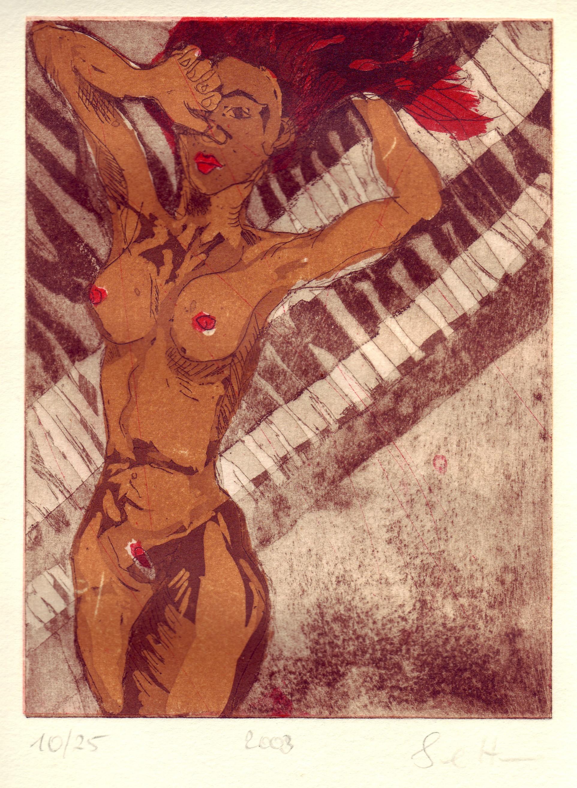 Akt stehend - Aquatinta von Susanne Haun, 3 Platten, 20 x 15 cm
