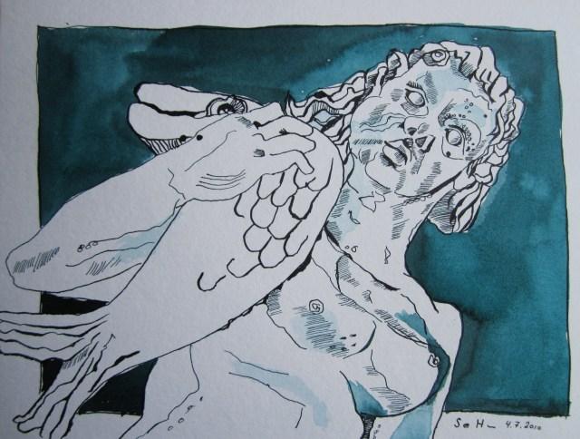 Schlossskulptur - Zeichnung von Susanne Haun - 22 x 34 cm - Tusche auf Bütten