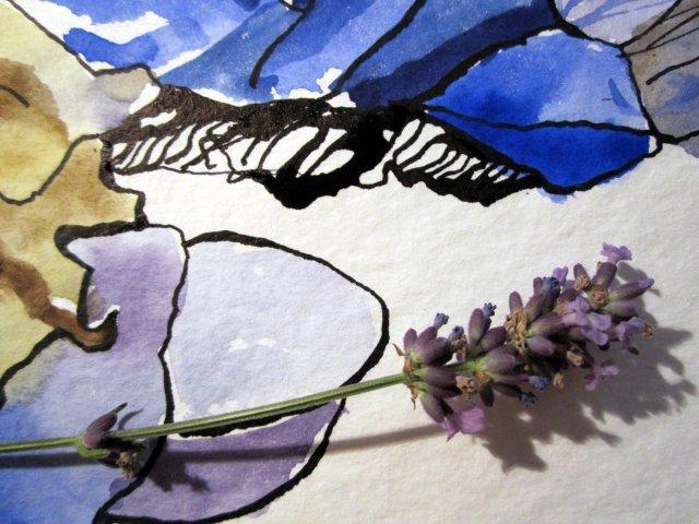 Entstehung einzelne Lavendelblüte Ausschnitt 4 mit Größenvergleich von Susanne Haun
