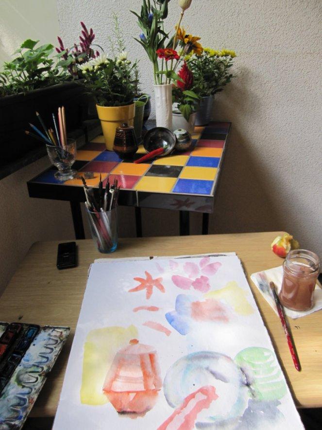 Entstehung Stillleben 1. Anlage von Susanne Haun