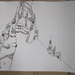 Entstehung Ithas Insel - Ausschnitt Steilküste und Dorfkirche - Zeichnung von Susanne Haun