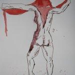 Akt Bewegung 2 - Zeichnung von Susanne Haun - 24 x 32 cm - Tusche auf Bütten