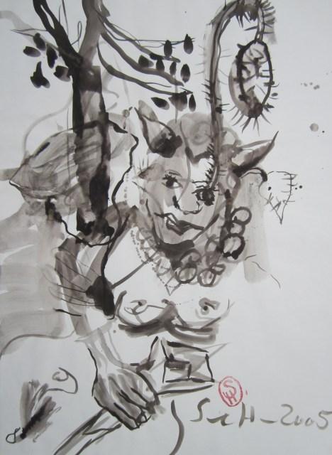 Eines Tages nun verlief sich ein junges Mädchen in jene Gegend des Paradieses - 2005 - 70 x 50 cm - Tusche auf Wildseidenpapier