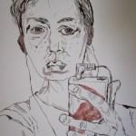 Ich und mein iPod- Zeichnung von Susanne Haun - 40 x 30 cm - Tusche auf Bütten