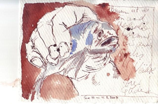 Kleiner Fisch in großer Hand - Zeichnung von Susanne Haun - Tusche auf Bütten