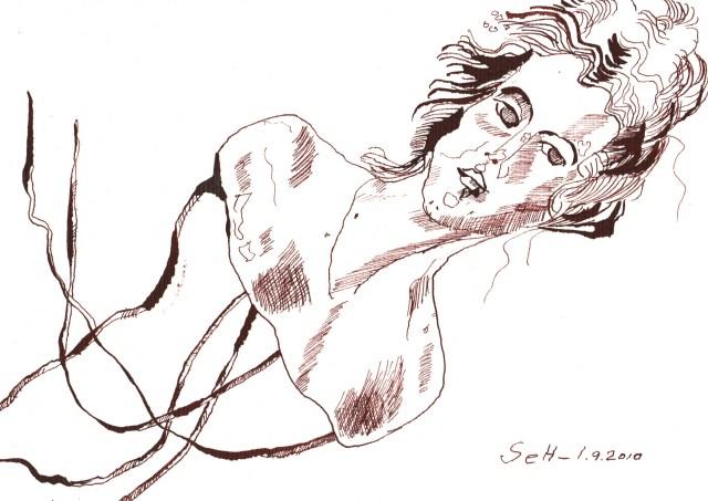 Die Borg - meine Porzellanpuppe Nr. 50 - Zeichnung von Susanne Haun - 17 x 22 cm -Tusche auf Hahnemühle Selection Bütten