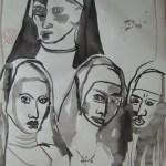 Hamlet: Geh in ein Kloster. Warum wolltest du Sünder zur Welt bringen? - Zeichnung von Susanne Haun - 70 x 50 cm