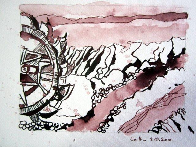 3. Zeichnung Welzow - Zeichnung von Susanne Haun 15 x 20 cm - Tusche auf Bütten