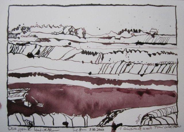 Welzow - Zeichnung von Susanne Haun - 17 x 22 cm - Tusche auf Bütten