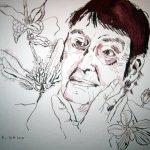Loki Schmidt - Zeichnung von Susanne Haun - 1. Version - 24 x 32 cm - Tusche auf Bütten