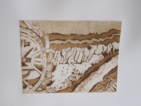 Braunkohleabbau Welzow - Radierung von Susanne Haun - 15 x 20 cm