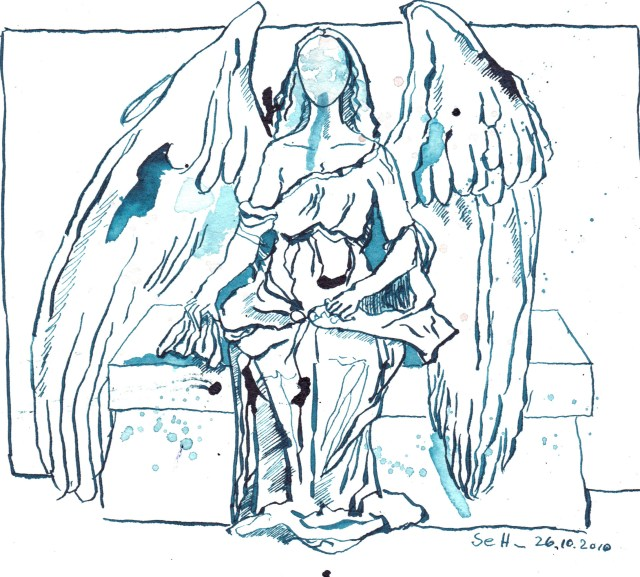 Sitzender Engel - Zeichnung von Susanne Haun - 20 x 22 cm - Türkis Tusche auf Bütten