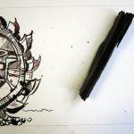 Entstehung 3. Zeichnung von Susanne Haun mit Kohle und Bagger im Vordergrund
