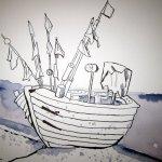 Ein nagelneues Fischerboot - Zeichnung von Susanne Haun - 17 x 22 cm - Tusche auf Bütten