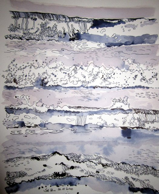 Wellen - Zeichnung von Susanne Haun - 32 x 22 cm - Tusche auf Bütten