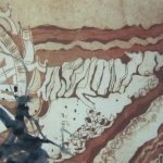 3. Kolorierte Radierung Welzow mit indigo Aquarellfarbe von Susanne Haun