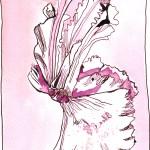 Der Tanz des Alpenveilchen 3 - Zeichnung von Susanne Haun - 25 x 28 cm - Tusche auf Bütten