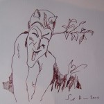 """Die Zeichnung """" Teufel"""" von Susanne Haun, 15 x 15 cm, ist die Vorlage für die Radierungich habe die Zeichnung einfach gehalten, um sie besser auf die Zinkplatte übertragen zu können"""