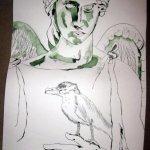 Ein Engel mit Vogel entsteht - Zeichnung von Susanne Haun 1000 x 40 cm