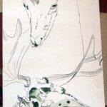 Der Olivenbaum verbindet Hirsch und Elchskelett und damit die Zeiten - Entstehung Zeichnung Susanne Haun - 1000 x 40 cm