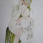 Das Gesicht des Kindes bleibt leer, den verschiedenen Gedanken führen zur Bewegung, ich will Harmonie zeigen - Entstehung Zeichnung von Susanne Haun