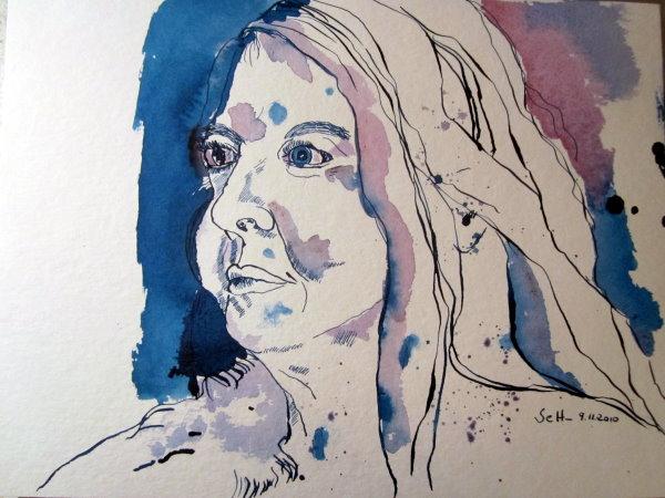 Petra A. Bauer - Zeichnung von Susanne Haun -24 x 32 cm - Tusche auf Bütten