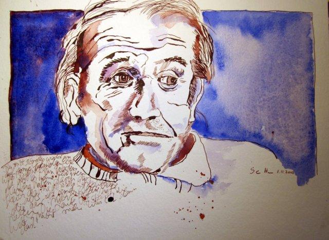 Deleuze - Zeichnung von Susanne Haun - 30 x 40 cm - Tusche auf Bütten
