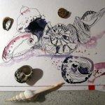 Ich denke, dass sind jetzt genug Muscheln - Entstehung Zeichnung von Susanne Haun