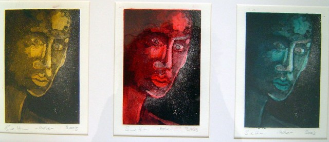 Im Dunkeln 2003 - Radierung von Susanne Haun - 3tlg. - Aquatinta