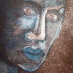 Im Dunkeln türkis 2003 - Radierung von Susanne Haun - 15 x 10 cm - Aquatinta, 2 Platte
