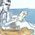 Ich halte auf den Karten mit schnellen Pinselstrichen meine Malschülerinnen fest - Aquarell von Susanne Haun