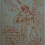Engel Version 15 – Radierung von Susanne Haun – 20 x 15 cm – Strickätzung