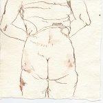 Rückenakt 2 - Zeichnung von Susanne Haun - 15 x 15 cm - Tusche auf Bütten