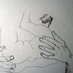 Athena entsteht in Zeus Arm - Zeichnung von Susanne Haun