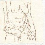 Torso 1 - Zeichnung von Susanne Haun - 15 x 15 cm - Tusche auf Bütten