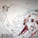 Herausarbeitung des Engels mittels Lavierung - Zeichnungvon Susanne Haun