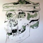 Die Hälfte des Schädels oben fehlt auf Grund des Alters - Zeichnung von Susanne Haun
