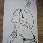 Engel Nr. 3 - Zeichnung von Susanne Haun - 15 x 10 cm - Tusche auf Bütten