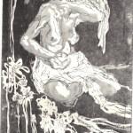 Sitzender Akt - Proberadierung Aquatinta von Susanne Haun - 1 Platte - 20 x 15 cm