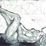 Liegender Akt - Proberadierung Aquatinta von Susanne Haun - 1 Platte - 15 x 20 cm