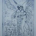 Engel Version 5 - Radierung von Susanne Haun - 20 x 15 cm - Strickätzung