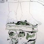 Nun verbinde ich Engel mit Füßen durch das Gewand - Zeichnung von Susanne Haun