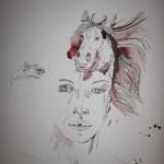 Entstehung Athena - Zeichnung von Susanne Haun - 70 x 50 cm