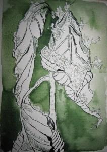 Verblühte Sonnenblume im Schnee - Zeichnung von Susanne Haun - 22 x 17 cm - Tusche auf Bütten