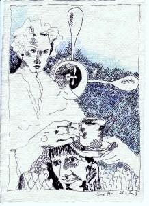 2003 - o.T. - Zeichnung von Susanne Haun - Radiograph und Buntstift auf Silberburg Bütten