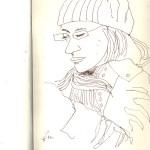 Viele Schlafen in der S-Bahn - Skizze von Susanne Haun