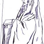 Kirchenskulptur - Zeichnung von Susanne Haun - 15 x 10 cm auf Hahnemühle Postkartenaquarell