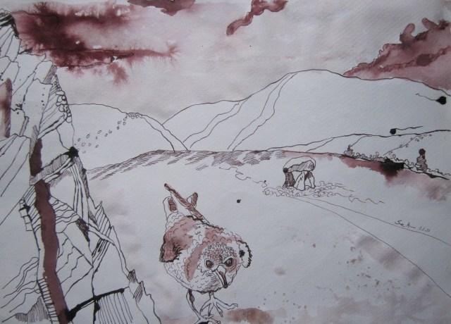 Irische Ebene - Zeichnung von Susanne Haun - 30 x 40 cm - Tusche auf Bütten